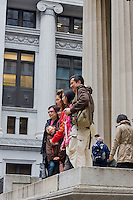 tourists at Federal Hall in New York October 2008
