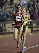 Gwen Jorgensen and Karissa Schweizer of Missouri lead the women's 10,000m in the Stanford Invitational in Stanford, Calif., Friday, Mar 30, 2018. Jorgensen won in 31:55.68.  and Schweizer was third in 32:00.55. (Gerome Wright/Image of Sport)