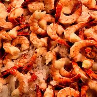 Large Cooked and Peeled Shrimp on Ice at Public Market Center in Seattle, Washington