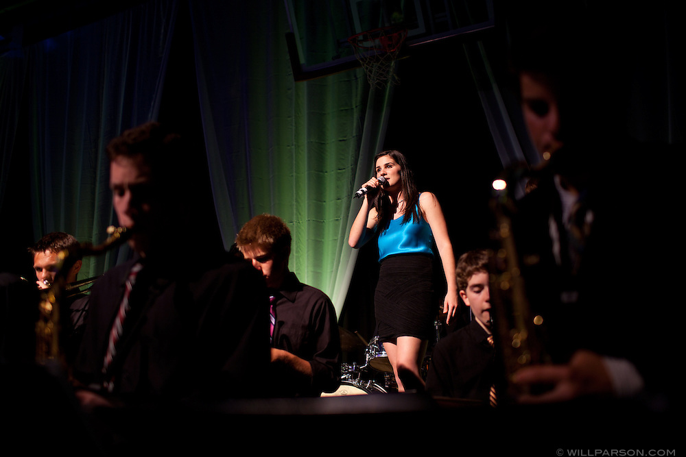 Student Nina Harris performs with student band members during the Lumina MMX gala at Bishop's School in La Jolla.