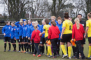 The Teams shake hands before kick off during the Women's FA Cup match between Watford Ladies FC and Brighton Ladies at the Broadwater Stadium, Berkhampstead, United Kingdom on 1 February 2015. Photo by Stuart Butcher.