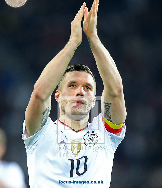 Lukas Podolski of Germany says an emotional farewell at the end of the International Friendly match at Signal Iduna Park, Dortmund<br /> Picture by Paul Chesterton/Focus Images Ltd +44 7904 640267<br /> 22/03/2017