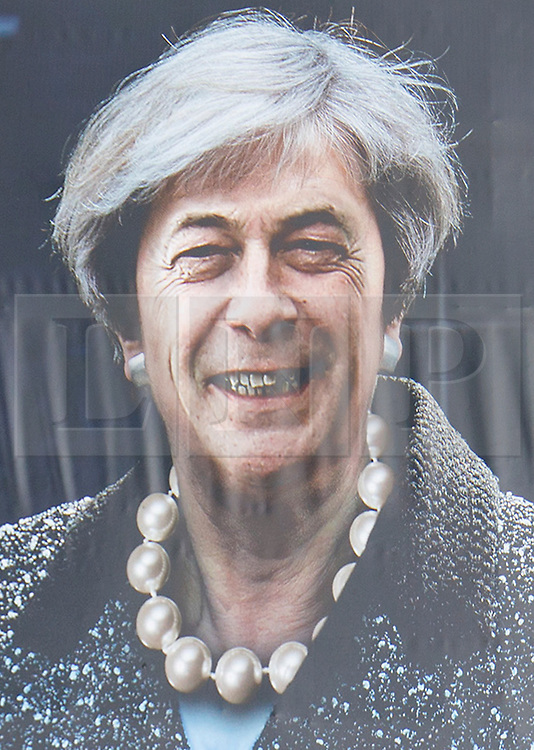 © Licensed to London News Pictures. 20/05/2017. London, UK. The launch of Liberal Democracts' new election poster at Twickenham Rugby Football Club in west London on Saturday, 20 May 2017, showing the face of former UKIP party leader Nigel Farage placed on to the body of British Prime minister Theresa May.  Photo credit: Tolga Akmen/LNP