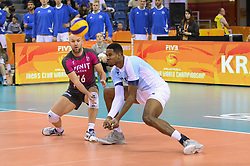 December 16, 2017 - Krakow, Poland - Wilfredo Leon Venero  (9) and Alexei Verbov (16) of VC Zenit Kazan in action  during the match between Sada Cruzeiro Volei and VC Zenit kazan during the semi finals of Volleyball Men's Club World Championship 2017 in Tauron Arena. (Credit Image: © Omar Marques/SOPA via ZUMA Wire)