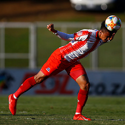 Rushine De Reuck of Maritzburg Utd during the Premier Soccer League (PSL) promotion play-off  match between  Royal Eagles and Maritzburg United F.C. at the Chatsworth Stadium Durban.South Africa,29,05,2019