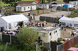 © Licensed to London News Pictures. 18/09/2011. Crays Hill, UK. A section of the Dale Farm travellers site in Crays Hill, Essex which has been developed by a group supporting the travellers. The eviction of around 80 traveller families is due to start tomorrow (Mon) from the UK's largest illegal traveller site.  Barricades are being built to prevent entry to the site. Photo credit: Ben Cawthra/LNP