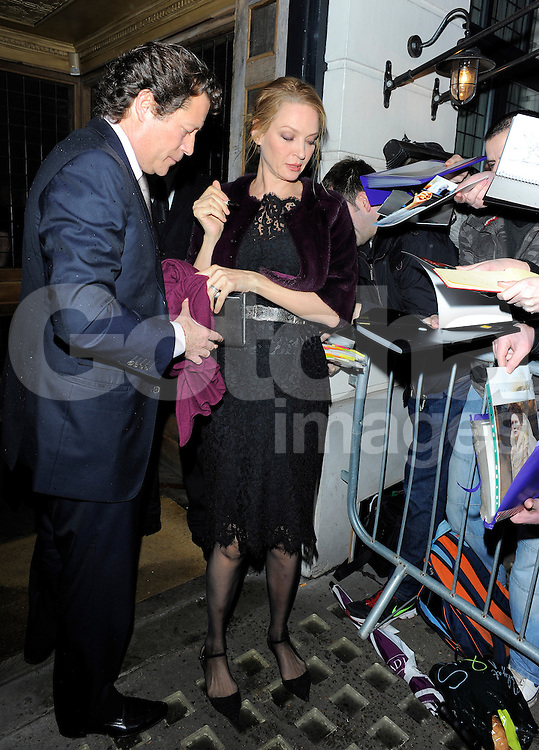 Uma Thurman attends Harvey Weinstein's pre-BAFTA dinner at Little House restaurant in London, UK. 14/02/2014<br />
