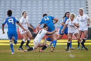 Laura Keates of England Women (3rd left)  taclkes Flavia Severin of Italy Women during the Women's RBS 6 Nations match at Twickenham Stoop , London<br /> Picture by David Horn/Focus Images Ltd +44 7545 970036<br /> 15/02/2015