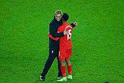 LIVERPOOL, ENGLAND - Monday, December 19, 2016: Liverpool's manager Jürgen Klopp and Daniel Sturridge celebrate after the late 1-0 victory over Everton in the FA Premier League match, the 227th Merseyside Derby, at Goodison Park. (Pic by Gavin Trafford/Propaganda)