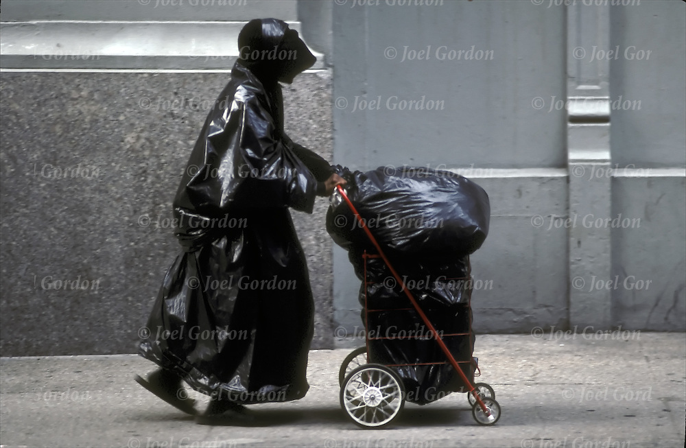 Street person one would avoid, looking crazy, baglady dressed in black garbage bags. re: treatment of mentally ill in society. <br /> <br /> Other times she could be begging for handouts in New York City. Homeless person living on the streets appearing depressed  and appearing mentally ill shabbily dressed with evidence of poor hygiene.<br /> <br /> Without needed medication or consistent mental health care, persons with serious and persistent mental health problems may be forced to live on the streets in precarious circumstances.