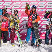 Bust out the champ: the winners at the Freeride World Tour in Haines, Alaska L to R: Logan Pehota, Eva Walkner, Ryland Bell, Anne-Flore Marxer