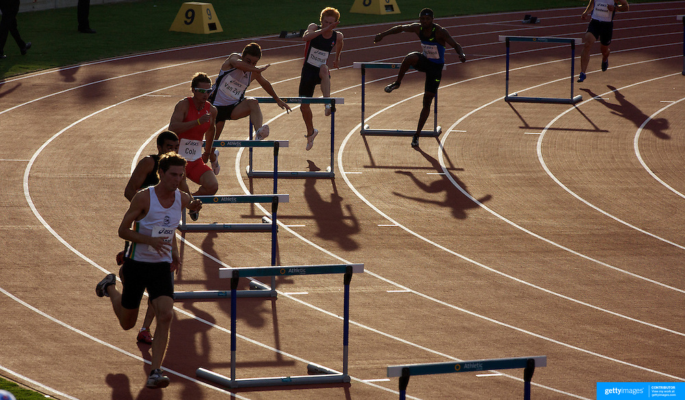 SYDNEY-February 28: Athletes approach the first hurdle during the Men's 400m Hurdles event won by Tristan Thomas of Australia from Bershawn Jackson, USA,  at the Sydney Track Classic 2009 held at Sydney Olympic Park Athletics Centre, Sydney, Australia on February 28, 2009.  Photo by Tim Clayton.