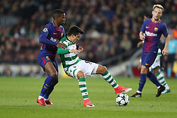 December 5, 2017 - Barcelona, Catalonia, Spain - MARCOS ACUNA of Sporting CP duels for the ball with NELSON SEMEDO of FC Barcelona during the UEFA Champions League, Group D football match between FC Barcelona and Sporting CP on December 5, 2017 at Camp Nou stadium in Barcelona, Spain. (Credit Image: © Manuel Blondeau via ZUMA Wire)