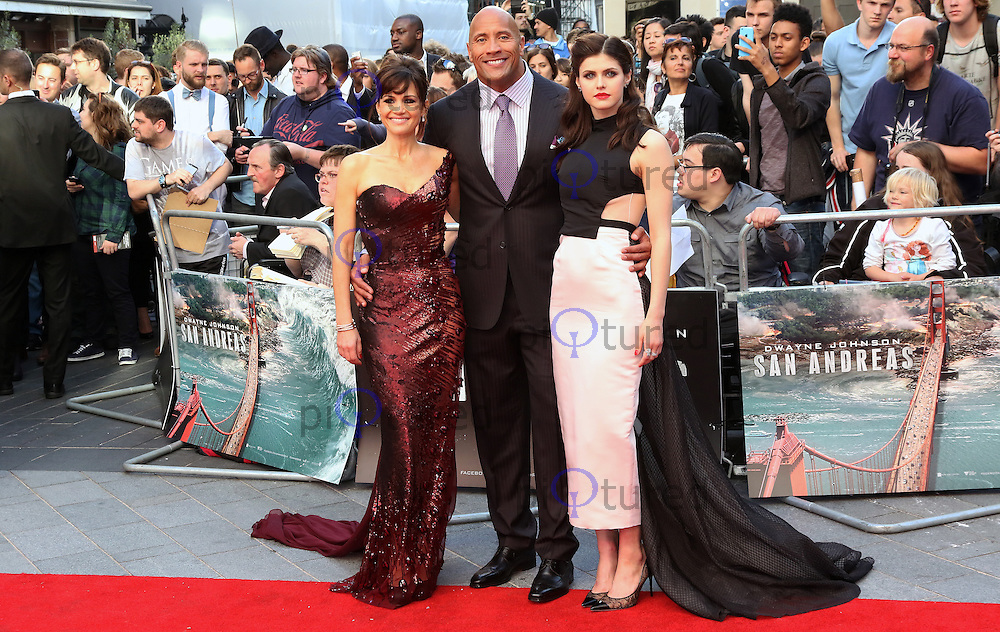 Carla Gugino, Dwayne Johnson, Alexandra Daddario, San Andreas - World Film Premiere, Leicester Square, London UK, 21 May 2015, Photo by Richard Goldschmidt