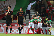 Maritimo´s   players celebrate after scoring during the Portuguese First League football match C.S. Maritimo vs S.L. Benfica held at Barreiros Stadium, Funchal, Portugal, 01 December, 2016.