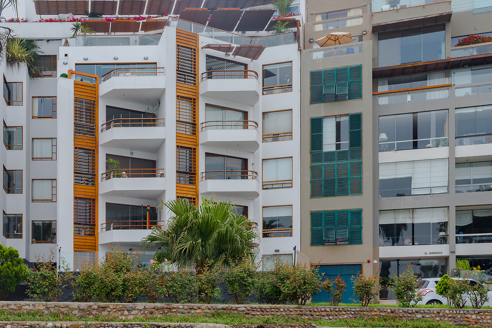 Lima, Peru -- April 13, 2018. Condos in the  upmarket Barranco District in Lima, Peru. Editorial use only.