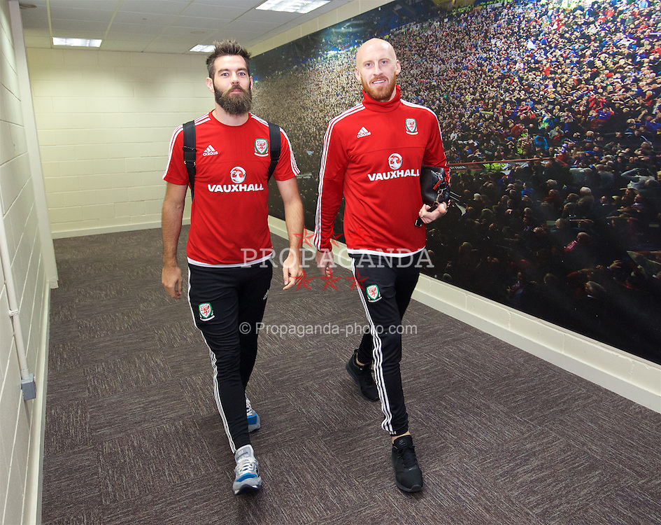 CARDIFF, WALES - Friday, November 13, 2015: Wales' Joe Ledley and James Collins arrive at the stadium ahead of the International Friendly match against the Netherlands at the Cardiff City Stadium. (Pic by David Rawcliffe/Propaganda)