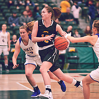5th year forward, Christina McCusker (12) of the Regina Cougars during the Women's Basketball Home Game on Fri Feb 15 at Centre for Kinesiology,Health and Sport. Credit: Arthur Ward/Arthur Images