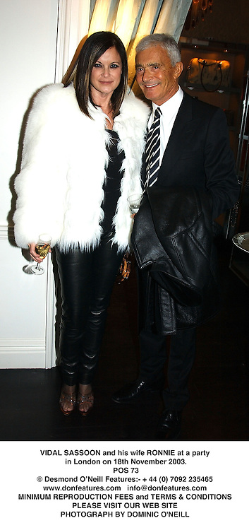 VIDAL SASSOON and his wife RONNIE at a party in London on 18th November 2003.<br /> POS 73
