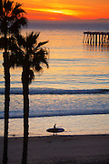 Stand Up Paddle Boarder on the Beach at Sunset in San Clemente California