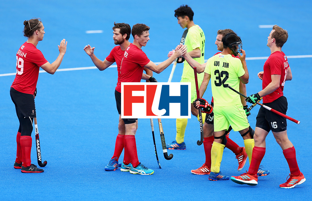 LONDON, ENGLAND - JUNE 24: Tupper Scott of Canada  celebrates scoring his sides sixth goal with his Canada team mates during the 5th-8th place match between Canada and China on day eight of the Hero Hockey World League Semi-Final at Lee Valley Hockey and Tennis Centre on June 24, 2017 in London, England.  (Photo by Steve Bardens/Getty Images)