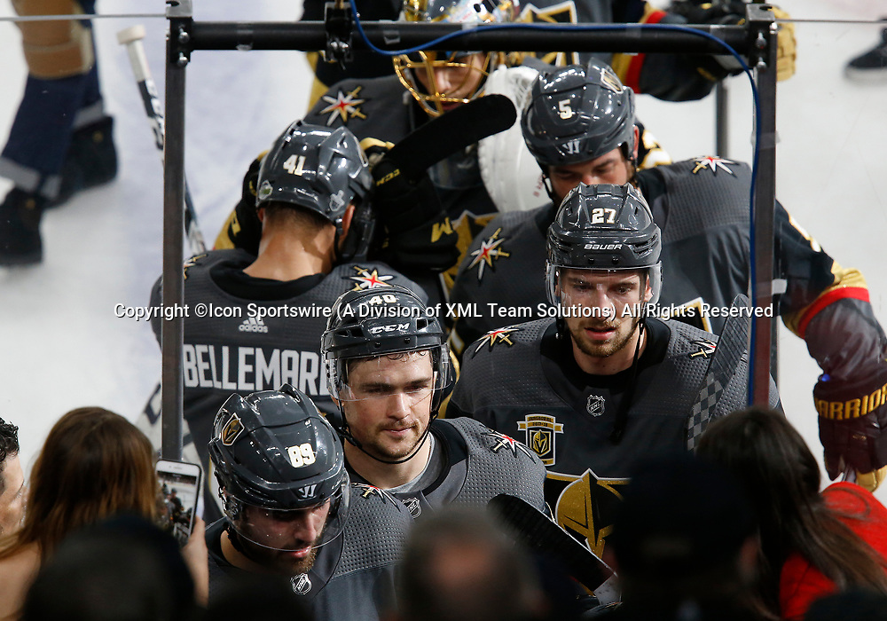 LAS VEGAS, NV - APRIL 11: Vegas Golden Knights center Ryan Carpenter (40) and defenseman Shea Theodore (27) head for the locker room at the conclusion of Game One of the Western Conference First Round of the 2018 NHL Stanley Cup Playoffs between the L.A. Kings and the Vegas Golden Knights Wednesday, April 11, 2018, at T-Mobile Arena in Las Vegas, Nevada. The Golden Knights won 1-0.  (Photo by: Marc Sanchez/Icon Sportswire)