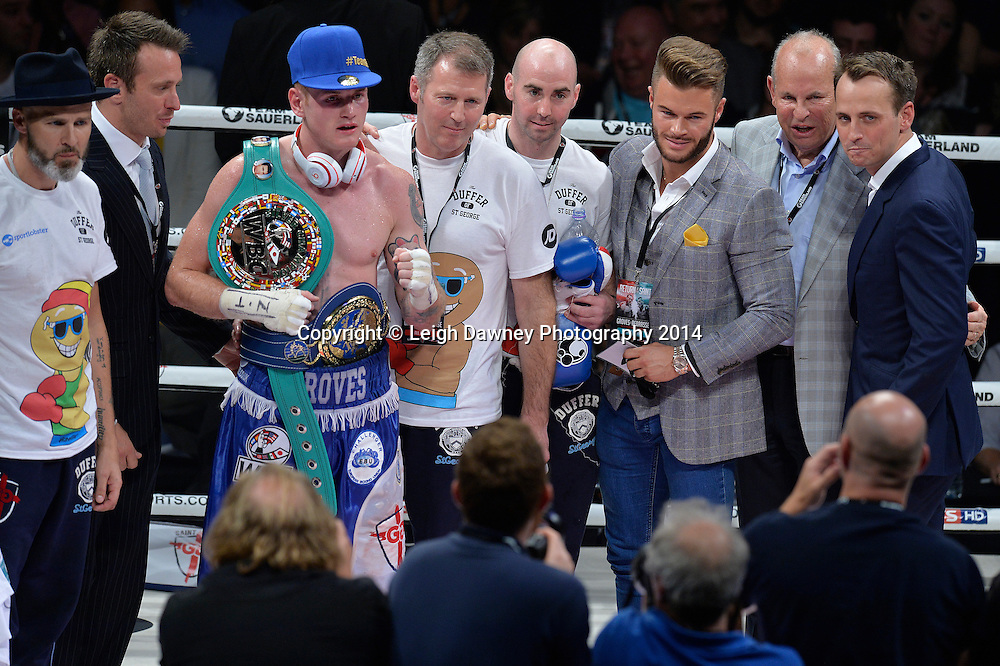 George Groves pictured with his team after defeating Christopher Rebrasse for the EBU (European) Super Middleweight Title & Vacant WBC Super Middleweight Title at the SSE Wembley Arena, London on the 20th September 2014. Sauerland Promotions. Credit: Leigh Dawney Photography.