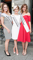 30/07/2015 Ireland&rsquo;s leading model, Roz Purcell,  judged at the 4 star,  Hotel Meyrick&rsquo;s annual most stylish lady competition on Kilkenny's Ladies Day of Galway Race Week 2015.  <br /> Siochfreadh Loftus Mayo Rose, Olga Lee Galway Rose, Emma Robinson Sligo Rose attended the event. Photo:Andrew Downes