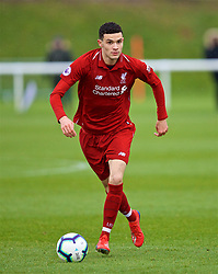DERBY, ENGLAND - Friday, March 8, 2019: Liverpool's substitute Isaac Christie-Davies during the FA Premier League 2 Division 1 match between Derby County FC Under-23's and Liverpool FC Under-23's at the Derby County FC Training Centre. (Pic by David Rawcliffe/Propaganda)