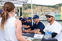 KELOWNA, CANADA - JUNE 28: Retired NHL player Josh Gorges sits net to NHL Dallas Stars player Blake Comeau at an autograph table during the opening charity game of the Home Base Slo-Pitch Tournament fundraiser for the Kelowna General Hospital Foundation JoeAnna's House on June 28, 2019 at Elk's Stadium in Kelowna, British Columbia, Canada.  (Photo by Marissa Baecker/Shoot the Breeze)