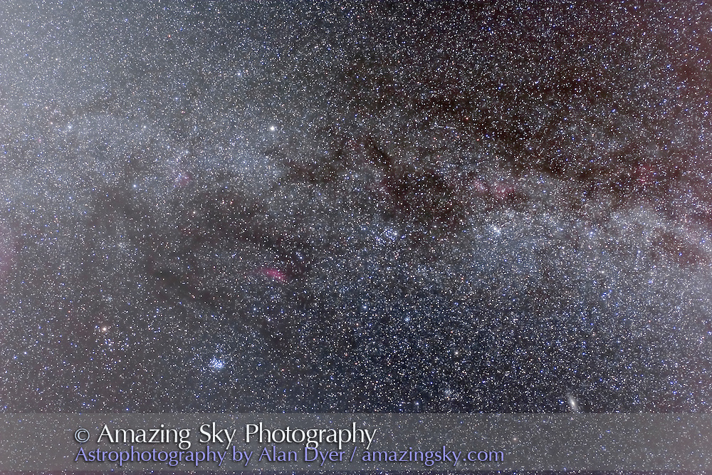 Wide-angle sweep of the northern autumn Milky Way, from Cassiopeia to Taurus, showing Taurus Dark Clouds. Taken January 18, 2009 from home on an excellent night, with Canon 20Da and 15mm Canon lens at f/4.5 for 4 x 10 minute exposures.