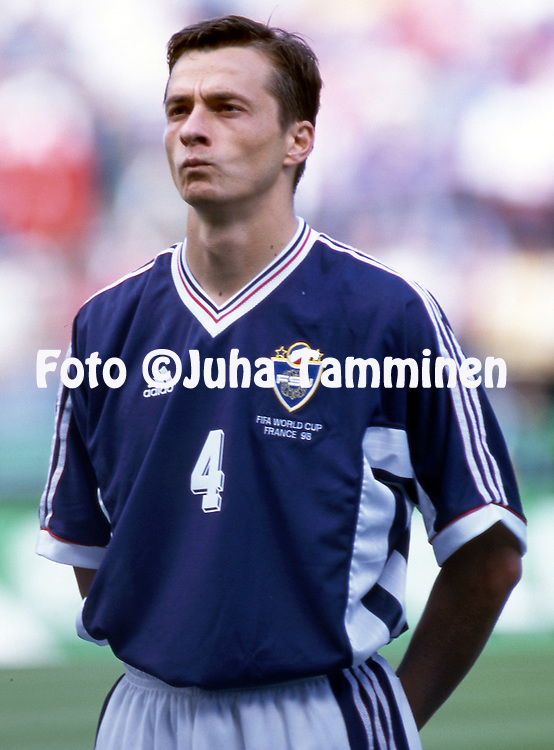 FIFA World Cup - France 1998<br /> 14.6.1998, Stade Geoffroy-Guichard, St. Etienne, France.<br /> Group F, Yugoslavia v Iran.<br /> Slavisa Jokanovic - Yugoslavia