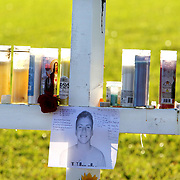 Memorial vigil Nicholas Dworet and for the 17 people killed at Marjory Stoneman Douglas High School by Nikolas Cruz using a semiautomatic AR-15 rifle. Mourners visit the 17 white crosses standing in a field in memory of each victim, 14 students and 3 faculty members. <br /> Photography by Jose More