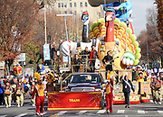 Ocean Spray, with the band Train on board, debuts its new Cranberry Cooperative float Thursday, Nov. 26, 2015 at the 89th Macy's Thanksgiving Day Parade in New York.  The float, honoring the 85-year-old cranberry cooperative and it's more than 700 grower owners, boasts an 18-foot-tall turkey and goose in XXXL waders and more than 400 bobbing cranberries. See how the float was built at Ocean Spray's Facebook page.  (Photo by Diane Bondareff/AP Images for Ocean Spray)
