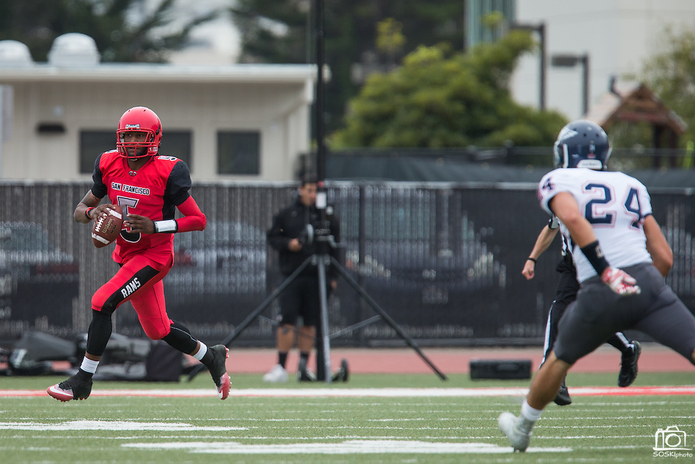Community College of San Francisco quarterback Lavell McCullers (5) carries the ball against College of Siskiyous at Community College of San Francisco in San Francisco, Calif., on September 10, 2016. (Stan Olszewski/Special to S.F. Examiner)