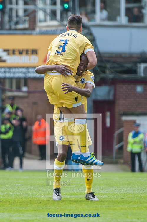 Joe Martin of Millwall celebrates with Jimmy Abdou of Millwall after scoring his sides third goal with a free kick during the Sky Bet League 1 Playoff  Semi-final Leg One at the Coral Windows Stadium, Bradford<br /> Picture by Matt Wilkinson/Focus Images Ltd 07814 960751<br /> 15/05/2016