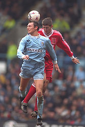 COVENTRY, ENGLAND - Saturday, April 6, 1996: Liverpool's Dominic Matteo in action against Coventry City's Noel Whelan during the Premiership match at Highfield Road. Coventry won 1-0. (Pic by David Rawcliffe/Propaganda)