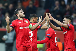 LEVERKUSEN, Nov. 7, 2019  Kevin Volland (1st L) of Leverkusen celebrates after scoring during a UEFA Champions League group D soccer match between Bayer 04 Leverkusen and Atletico Madrid, in Leverkusen, Germany, Nov. 6, 2019. (Photo by Joachim Bywaletz/Xinhua) (Credit Image: © Xinhua via ZUMA Wire)