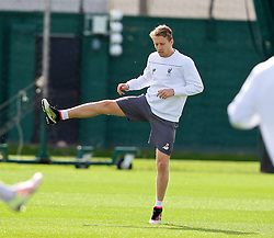 LIVERPOOL, ENGLAND - Wednesday, April 13, 2016: Liverpool's Lucas Leiva during a training session at Melwood Training Ground ahead of the UEFA Europa League Quarter-Final 2nd Leg match against Borussia Dortmund. (Pic by David Rawcliffe/Propaganda)