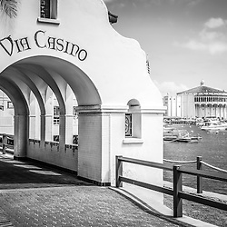 Catalina Island Via Casino Arch in black and white with Catalina Casino in Avalon California
