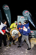 """Braveheart""  award during stage 4 of the first Snow Epic, the ""Eliminator"" course on the Klostermatte ski slopes near Engelberg, in the heart of the Swiss Alps, Switzerland on the 16th January 2015<br /> <br /> Photo by:  Marc Gasch / Snow Epic / SPORTZPICS"