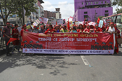 May 1, 2019 - Dhaka, Bangladesh - Bangladeshi garment workers and other labor organization members take part in a rally to mark International labor Day in Dhaka Bangladesh on May 01, 2019. (Credit Image: © Kazi Salahuddin Razu/NurPhoto via ZUMA Press)