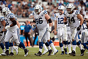Indianapolis Colts rookie offensive guard Quenton Nelson (56) breaks from the huddle during the NFL week 13 regular season football game against the Jacksonville Jaguars on Sunday, Dec. 2, 2018 in Jacksonville, Fla. The Jaguars won the game in a 6-0 shutout. (©Paul Anthony Spinelli)
