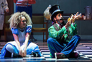The Mad Hatter's Tea Party <br /> by Zoo Nation<br /> directed by Kate Prince<br /> presented by Zoo Nation, The Roundhouse & The Royal Opera House<br /> at The Roundhouse, London, Great Britain <br /> rehearsal <br /> 29th December 2016 <br /> <br /> <br /> Issac Turbo Baptiste<br /> as the Mad Hatter <br /> <br /> <br /> <br /> Kayla Lomas-Kirton as Alice <br /> <br /> <br /> <br /> Photograph by Elliott Franks <br /> Image licensed to Elliott Franks Photography Services