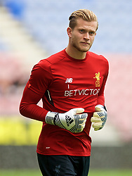 WIGAN, ENGLAND - Friday, July 14, 2017: Liverpool's goalkeeper Loris Karius warms-up before a preseason friendly match against Wigan Athletic at the DW Stadium. (Pic by David Rawcliffe/Propaganda)