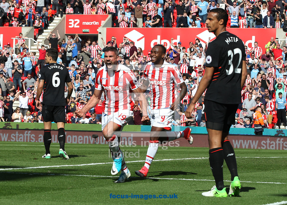 Jonathan Walters of Stoke City celebrates scoring the first goal against Liverpool during the Premier League match at the Bet 365 Stadium, Stoke-on-Trent.<br /> Picture by Michael Sedgwick/Focus Images Ltd +44 7900 363072<br /> 08/04/2017