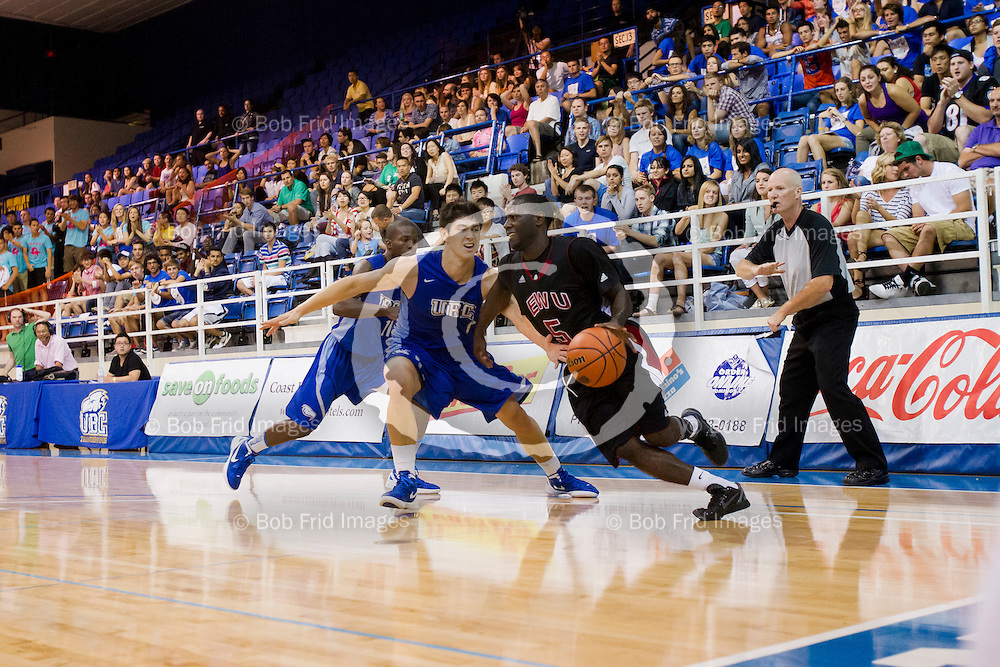 08 September 2012:  Action during a Men's Basketball game between the University of British Columbia Thunderbirds and the Eastern Washington University Eagles at War Memorial Gymnasium, University of British Columbia, Vancouver, BC, Canada.  Final Score:  UBC 73  EWU 77  ****(Photo by Bob Frid/UBC Athletics  2012 All Rights Reserved****)