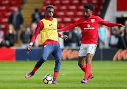 Tammy Abraham and Josh Onomah of England U21 warm up - Rogan Thomson/JMP - 11/10/2016 - FOOTBALL - Bescot Stadium - Walsall, England - England U21 v Bosnia and Herzegovina - UEFA European Under 21 Championship Qualifying.