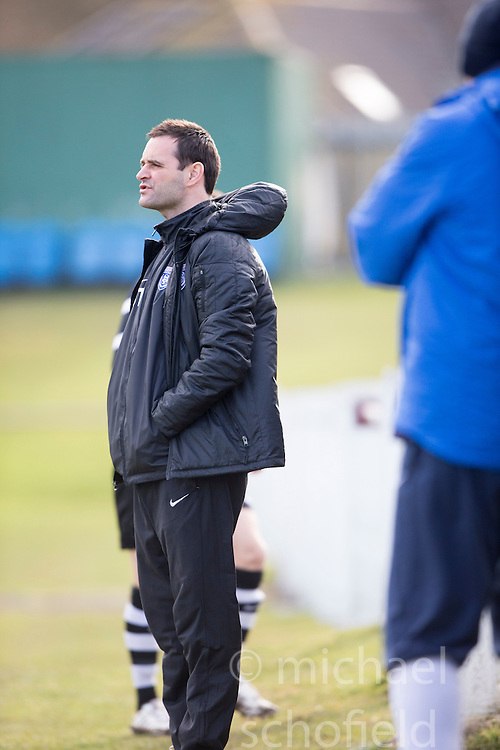 Edusport Academy coach Andy Thomson. Whitehill Welfare 2 v 1 Edusport Academy, South Challenge Cup Quarter Final played 7/3/2015 at Ferguson Park, Carnethie Street, Rosewell.
