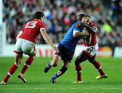 Nanyak Dala of Canada tackles Frederic Michalak of France  - Mandatory byline: Joe Meredith/JMP - 07966386802 - 01/10/2015 - Rugby Union, World Cup - Stadium:MK -Milton Keynes,England - France v Canada - Rugby World Cup 2015